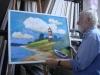 4.11.12 Atelierbesuch bei Ernst Leonardt  Der Künstler vor einem seiner Bilder