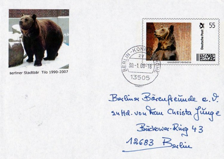2008 erster Plusbrief mit eigener Briefmarke Ehrung für Tilo (nur für Postmitarbeiter)  -Sammlung Privat Christa Junge