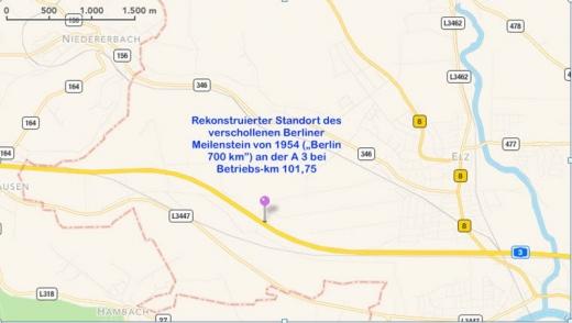 Bild 1 Rekonstruierter Standort des Berliner Meilensteins bei Betriebs-km 101,75 an der A 3(© Karte Google; Einzeichnungen und Text: R. Ruppmann)