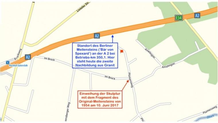 Bild 12 Standort des Berliner Meilensteins an der A 2 bei Betriebs-km 350,1 (© Karte Google; Einzeichnungen und Text: R. Ruppmann)