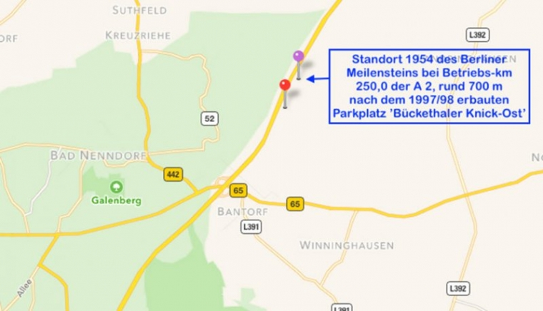 Bild 14 Ursprünglicher Standort des Berliner Meilensteins rund 700 m nach dem Parkplatz Bückethaler Knick (© Karte Google) Nach den Ausbauplanungen1969 (Leber-Plan) sollte die