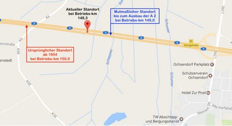 Bild 17 Aktueller und rekonstruierte Standorte des Berliner Meilensteins bei Königslutter (Quelle: Bären für Berlin www.m1k.de; © Karte Google; Einzeichnungen und Text R. Ruppmann)