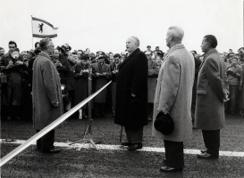 Einweihung der Berliner Brücke, 30. März 1957, Bundesverkehrsminister Dr. Seebohm, OB Arthur Bransch, OStD Dr. Hesse             Foto: o. A. Bestand: Stadtplanung und Bauberatung von 28.02.02, AZ 471230, Bd. 7