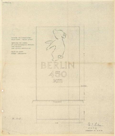 Bild 1 Originalzeichnung vom 7.9.1953 für die Ausführung der Berliner Meilensteine