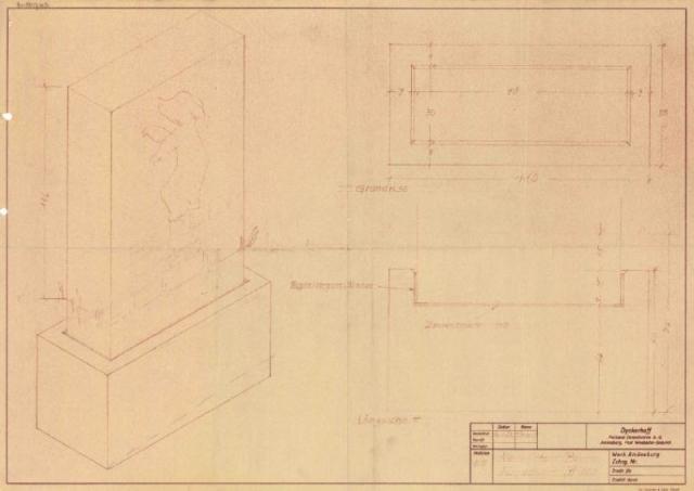 Bild 2 Originalzeichnung der Firma Dyckerhoff für die Ausführung des Sockels