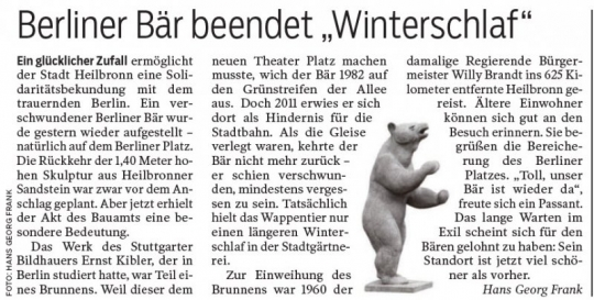 22.12.2016 Rundschau, Südwest Presse, Von Hans Georg Frank - Berliner Bär zurück im Heilbronner Stadtbild