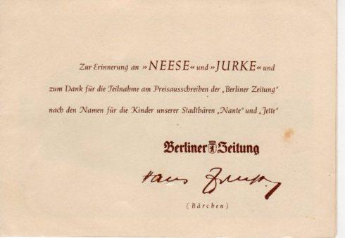 Klappkarte zur Taufe von Jurke und Neese 1952 im Berliner Bärenzwinger