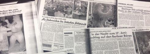 Historische Schlagzeilen zur Enthüllung des Berliner Bären von Oberhausen am 17. Juni 1962 Foto © Nadine Gewehr