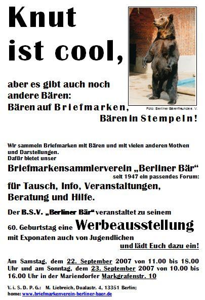 Plakat zum Jubiläum 60 Jahre B.S.V. Berliner Bär